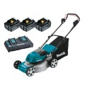 "Makita DLM461PT3 - 18Vx2 5.0Ah 460mm (18"") Cordless Brushless Lawn Mower Kit Lawn Mowers"