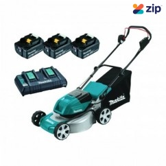 "Makita DLM464PT3 - 18Vx2 460mm (18"") 5.0Ah Cordless Brushless Lawn Mower Kit Lawn Mowers"