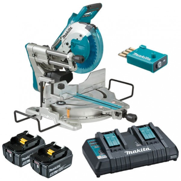 "Makita DLS111PT2U - 18Vx2 260mm (10-1/4"") Cordless Brushless AWS Slide Compound Saw Kit with Wireless Unit (WUT01) Cordless Mitre Saws"