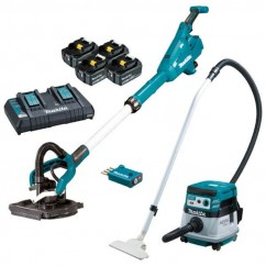 Makita DSL800PT4-DVC864 - 18V 225mm Cordless Brushless AWS Drywall Sander & Vacuum Combo Kit