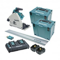 Makita DSP601PT2JUT - 36V (18V x 2) 165mm Cordless Brushless Plunge Cut Saw Kit /w 1.4m Rail Circular Saws