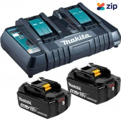 Makita DC18RD+2X4AH - 18V Dual Port Rapid Charger with 2x 4.0Ah Batteries Kit B-90180 Batteries & Chargers