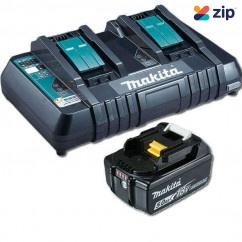 Makita DC18RD+BL1850B - 18V Dual Rapid Charger With 5.0Ah Battery 197564-4 Batteries & Chargers