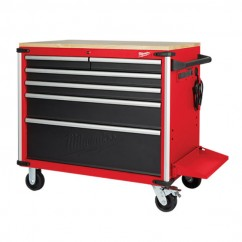 "Milwaukee 48228537 - 40"" 6 Drawer Mobile Work Bench Tool Trolley with Wood Top"