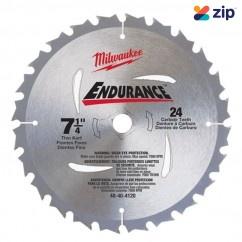 "Milwaukee 48404120 - 7-1/4"" 185mm 24 Carbide Teeth Circular Saw Blade Milwaukee Accessories"