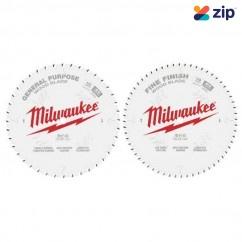 "Milwaukee 48408036 - 2 Pack 254mm (10"") General Purpose 40T & Fine Finish 60T Saw Blades Milwaukee Accessories"