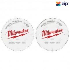 "Milwaukee 48408232 - 2 Pack 305mm (12"") General Purpose 44T & Fine Finish 80T Saw Blades Milwaukee Accessories"