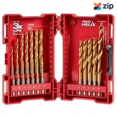 Milwaukee 48894860 – 19 Piece 2-10mm Red Hex SHOCKWAVE Titanium Metric Drill Set Drill Bits