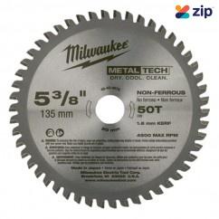 "Milwaukee 48404075 - 5-3/8"" (135mm) 50 Teeth Non-Ferrous Metal Circular Saw Blade Milwaukee Accessories"