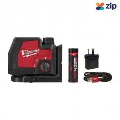 Milwaukee L4CPL-301C - Cross + 2 Plumb Rechargeable USB REDLITHIUM Laser Kit Laser Distance Measurers