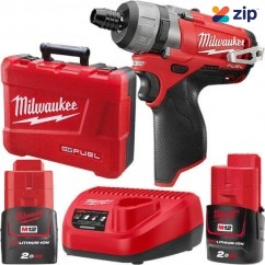 "Milwaukee M12CD-202C - 12V 1/4"" Hex Drill Driver Kit Cordless Drills"