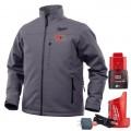 Milwaukee M12HJGREY9-0L - 12V Cordless Grey Heated Jacket Skin - Large Size Jackets