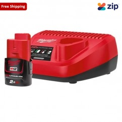 Milwaukee M12SP-201B - 12V Charger and 2.0Ah REDLITHIUM Battery Combo Kit Batteries & Chargers