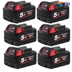 Milwaukee M18B56 - 18V 5.0Ah 6 Pack Redlithium-Ion Extended Capacity Battery Pack Batteries & Chargers