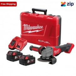 """Milwaukee M18FAG125XPD-502C - 18V 5.0Ah Li-ion 125 mm (5"""") Cordless Brushless with Deadman Paddle Switch Angle Grinder Kit Angle Grinders"""