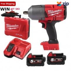 "Milwaukee M18FHIWF12-502C - 18V Li-Ion Cordless 1/2"" High Torque Impact Wrench with Friction Ring Kit Cordless Impact Wrenches Square Drive"