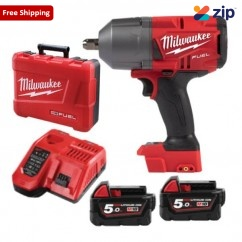 "Milwaukee M18FHIWP12-502C - 18V 5.0Ah Li-Ion Cordless Fuel 1/2"" High Torque Impact Wrench with Pin Detent Kit Cordless Impact Wrenches Square Drive"