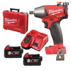 "Milwaukee M18FIWF12-502C - 18V 5.0Ah 1/2"" Cordless Fuel Impact Wrench Kit Cordless Impact Wrenches Square Drive"