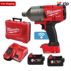 "Milwaukee M18ONEFHIWF34-502C - 18V 5.0Ah FUEL ONE-KEY 3/4"" High Torque Impact Wrench w/ Friction Ring Kit Cordless Impact Wrenches Square Drive"