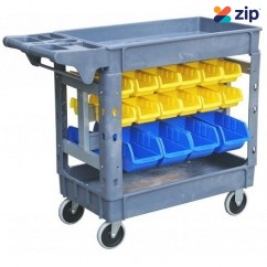 Mitaco MUD132 - 32 Part Bins 250 kg Capacity 2 Tier Trolley Cart Tool Trolleys