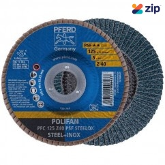 PFERD PFC 125 Z 40 PSF - 125mm 40-Grit Polifan Steellox Zirconia Angled Flap Disc 67770124 Grinding Accessories