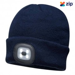 Portwest B029NAR - Navy Led Head Light USB Rechargeable Beanie Head Lamp with Rechargeable Batteries