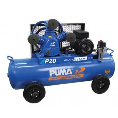 Puma P20 Single Phase 240V 20Cfm 3.2hp 420Lpm 116psi 75L Air Compressor Single Phase