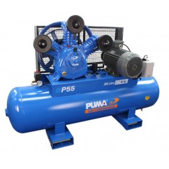 Puma P55 Three Phase 415V 55Cfm 10hp 1415Lpm 116Psi 265L Tank Air Compressor Three Phase