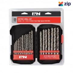 P&N Professional Tools 166044642 - 1-13mm 25 PC Metric HSS Metal Drill Bit Set