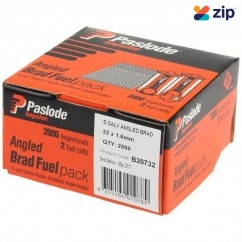Paslode B20732 - 32mm 1.6mm 2000 Pack Angled Brad Nails with Fuel