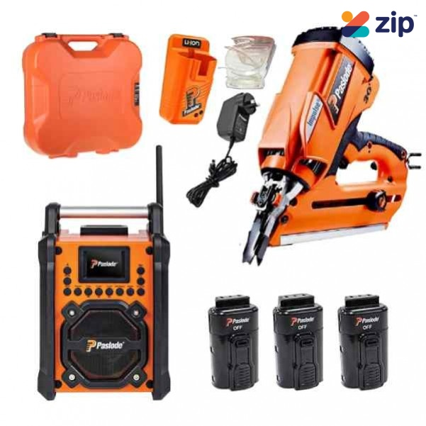 Paslode S20W20 - 7.4V 2.0Ah Li-ion PowerVent Impulse Nailer with Jobsite Charger RadioCombo Kit Nailers & Staplers