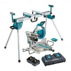 Makita DLS111PT2U-WST06 - 18Vx2 260mm AWS Brushless Slide Compound Saw Kit & Mitre Saw Stand Combo Kit  Mitre Saws