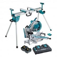 Makita DLS211PT2U-WST06 - 18Vx2 Brushless AWS 305mm Slide Compound Saw Kit & Mitre Saw Stand Combo Kit  Mitre Saws